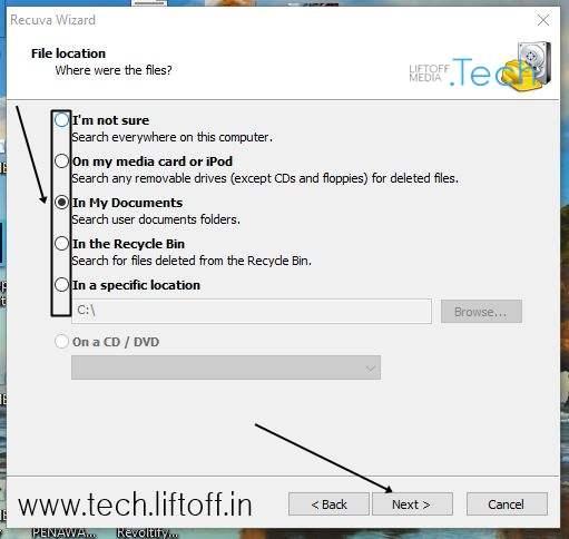 Cara Mengembalikan File Yang Terhapus - Pilih Lokasi tech-liftoff-in