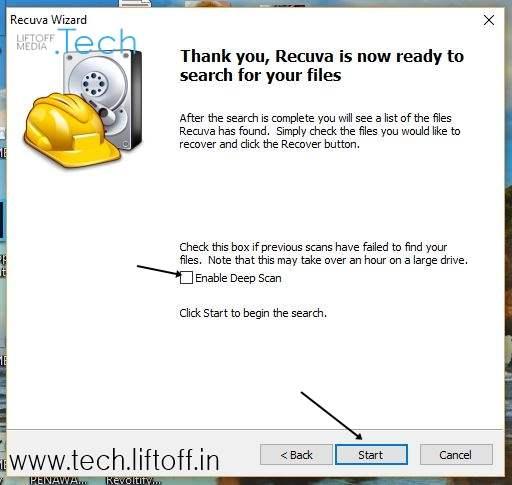 Cara Mengembalikan File Yang Terhapus - Pilih Start 2 tech-liftoff-in