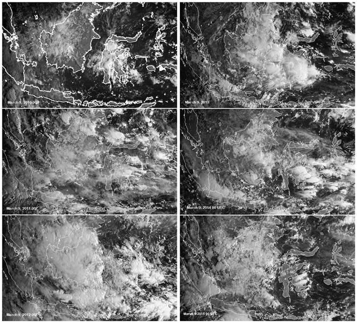 Diperkirakan Gerhana Matahari 9 Maret Tertutup Awan foto satelit yang menunjukan intensitas awan di Indonesia pada tanggal 9 Maret selama 6 Tahun terakhir