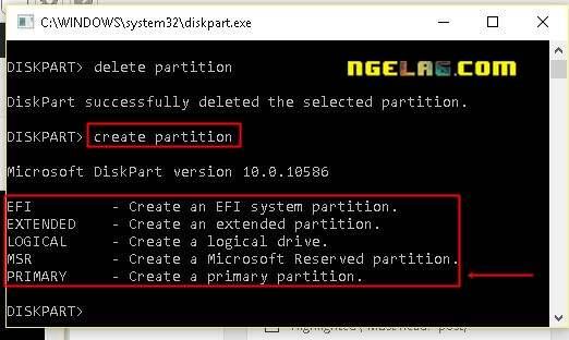 FlashDisk Tidak Bisa Diformat Ini Cara Memperbaikinya Diskpart create partition