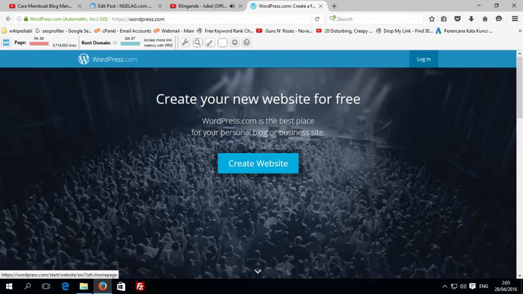 Cara Membuat Blog Menggunakan WordPress Tekan Tombol Create Website