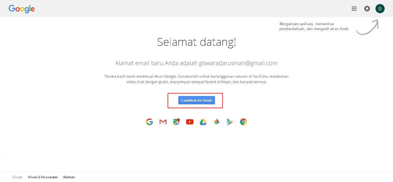 Cara Membuat Email Baru Pada Gmail Halaman Setelah Pendaftaran Selesai