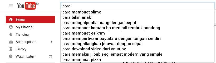 Memberi nama video dengan bantuan Youtube autocomplete search