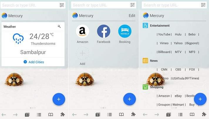 Browser Android Terbaik Mercury Browser