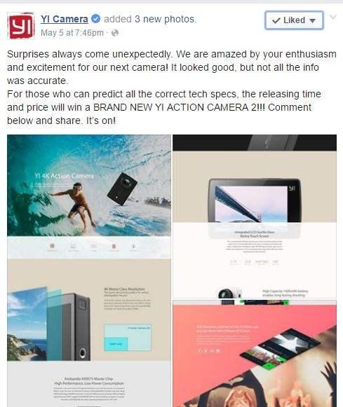 Postingan resmi mengumumkan Xiaomi Yi 4K Action Camera 2 Terbaru dari Xiaomi