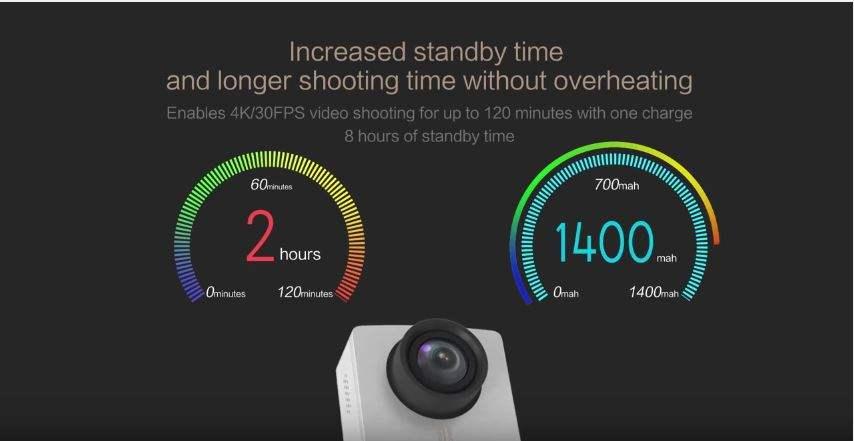 Xiaomi Yi 4K 2 Jam Waktu Operasi , 8 Jam Waktu Standby