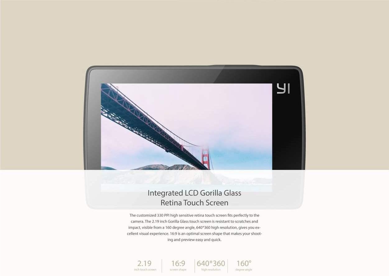 Xiaomi Yi 4K Action Camera Spesifikasi LCD Touchscreen