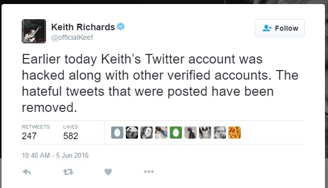 Akun Twitter Keith Richards Kena Hack