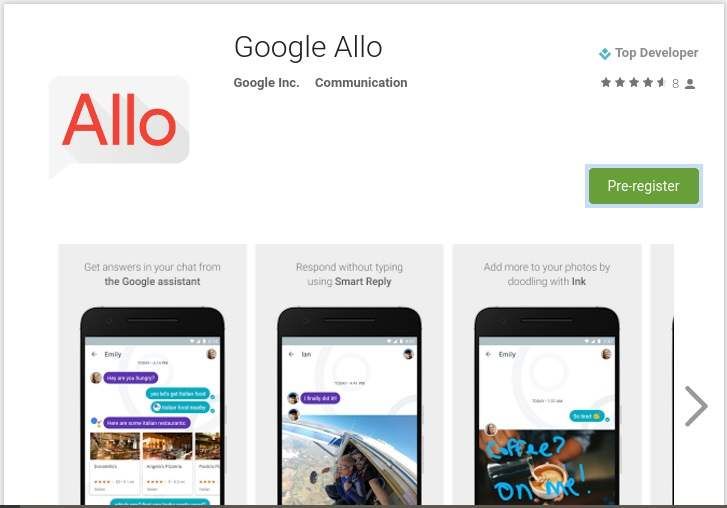 Google Allo Pre Register Page