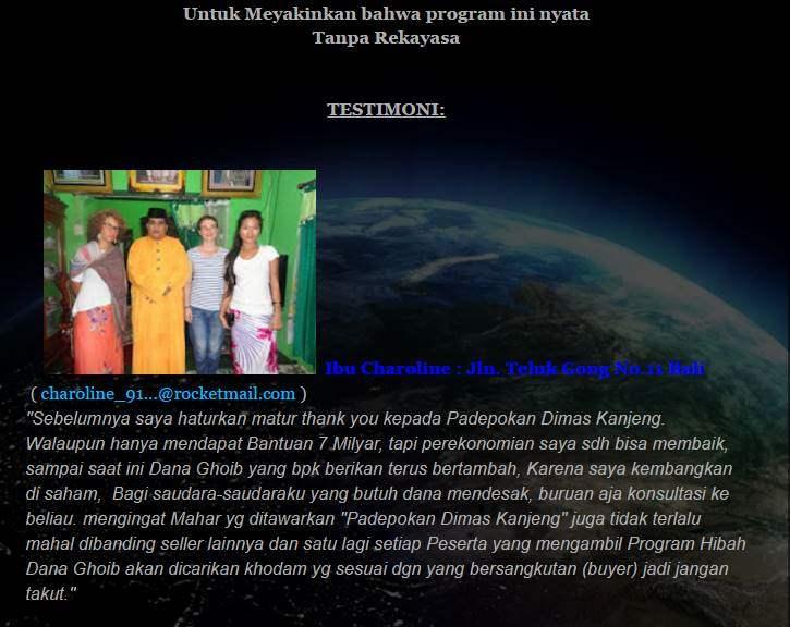Testimoni Palsu Blog Dimas Kanjeng Taat Pribadi