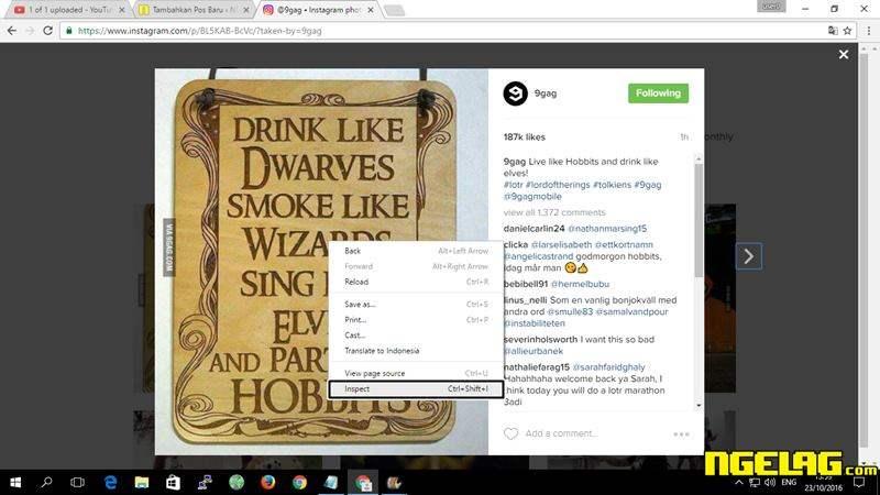 Cara Menyimpan Foto Dari Instagram Di PC Klik Kanan tekan Inspect