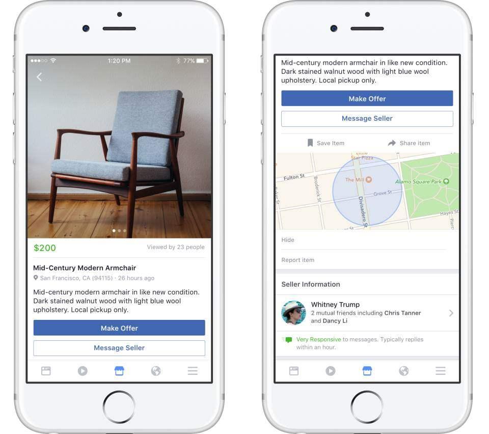 Fitur Lokasi Penjual Barang Pada Facebook Marketplace Berdasarkan Profil Facebook Yang Sudah Ada