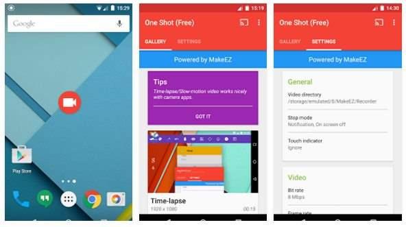 One Shot screen recorder Aplikasi Perekam Layar Android Terbaik Tanpa Root