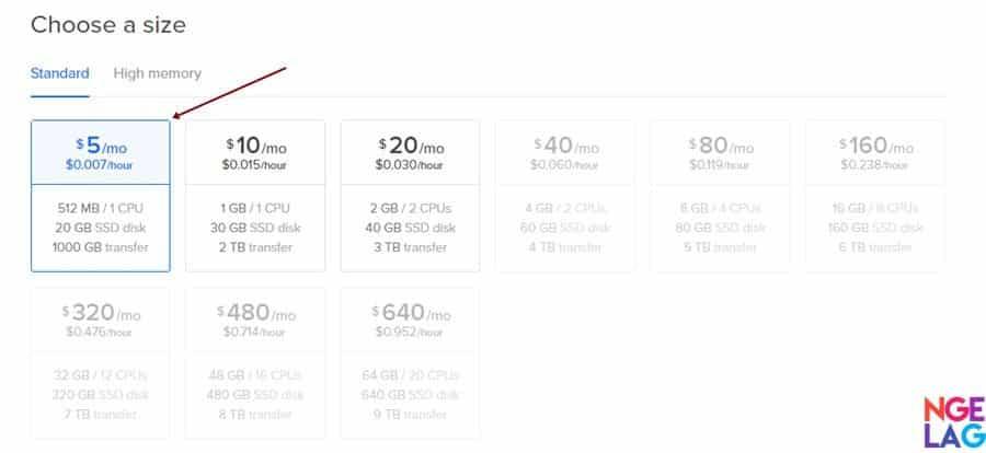 Cara Membuat VPS DigitalOcean Untuk WordPress Menggunakan ServerPilot - Pilih Ukuran VPS