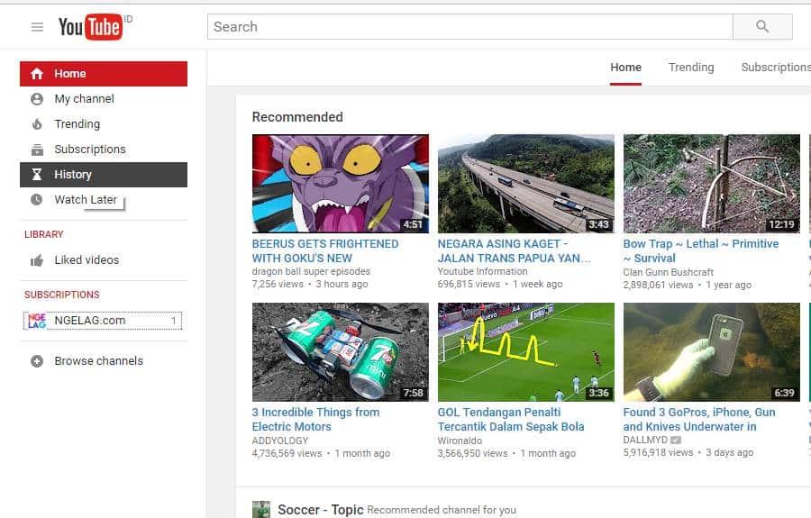 Cara Menghapus Riwayat Di YouTube PC dan Laptop