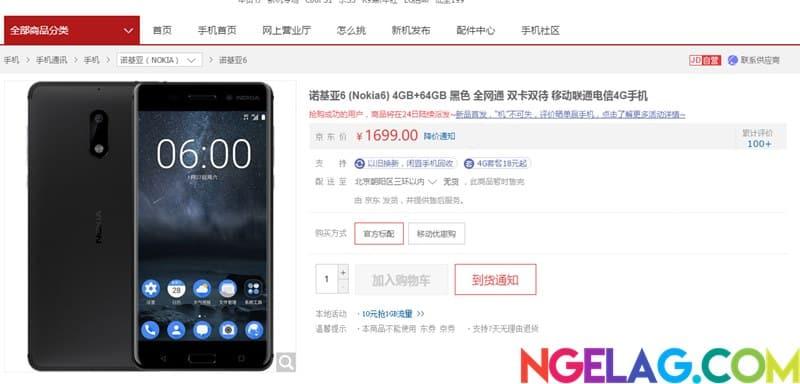 Halaman Pre Order Nokia 6 di JD.com China