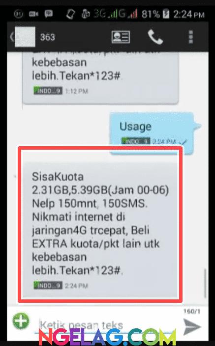 Cara Cek Kuota Indosat Ooredoo 4G Lte Melalui SMS - Informasi Penggunaan Kuota Diterima