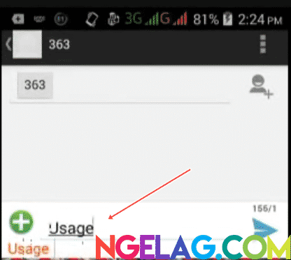 Cara Cek Kuota Indosat Ooredoo 4G Lte Melalui SMS - Tulis Usage pada isi SMS