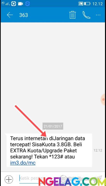 Cara Cek Kuota Indosat Ooredoo 4G Lte Melalui Telepon - SMS Berisi Informasi Penggunaan Kuota Internet Diterima
