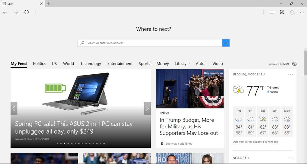 Kelebihan Windows 10 Memiliki Browser Cepat Microsoft Edge