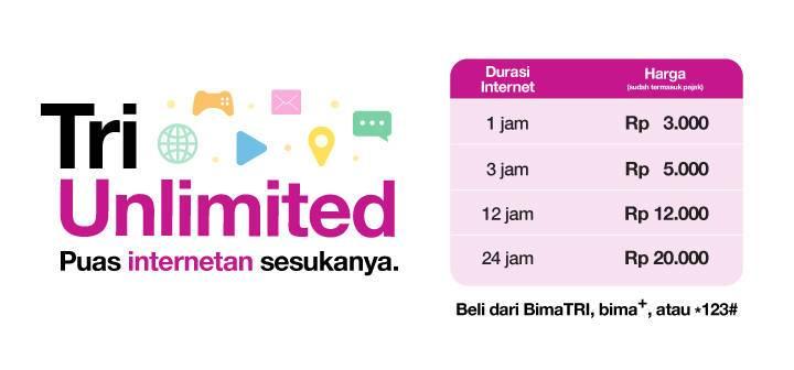 Paket Kuota Internet Unlimited 3 Tri Mulai 3 Ribu